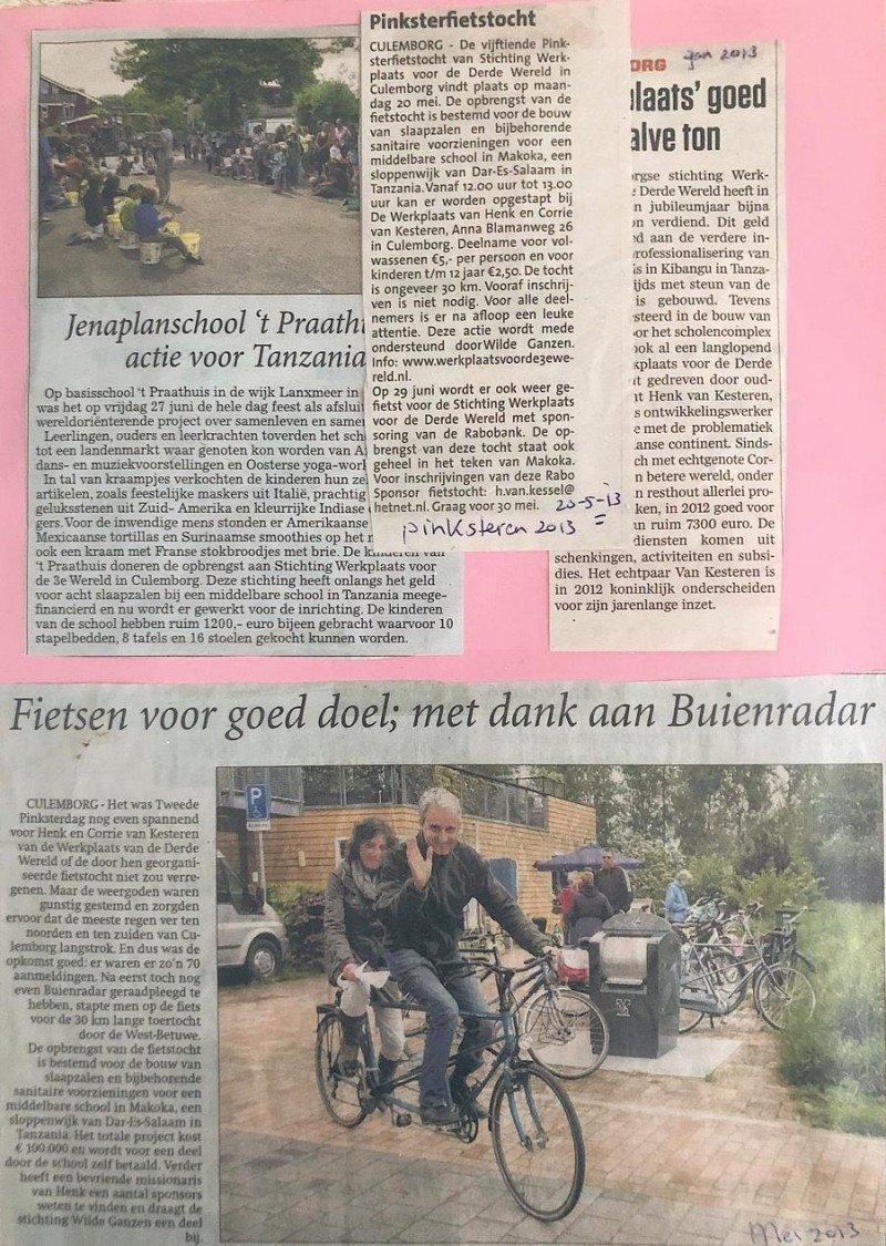Diverse krantenberichten werkplaats voor de wereld 2012